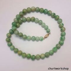 Green jade beads necklace