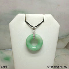 Light apple green round jade pendant, jade donut