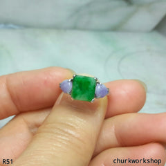 Green square jade ring 14K white gold