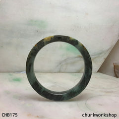 Natural dark green square jade bangle