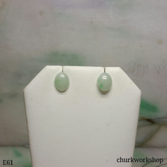 Pale green jade cabochon silver ear studs