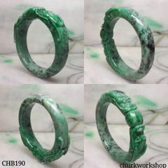 Green jade double dragon bangle