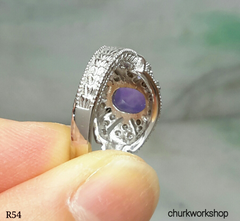 14k white gold diamond lavender jade ring