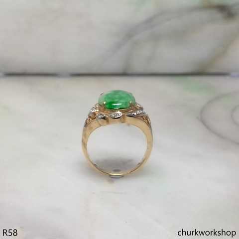 14k yellow gold diamond green jade ring