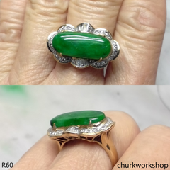 Green jade 14K diamond ring