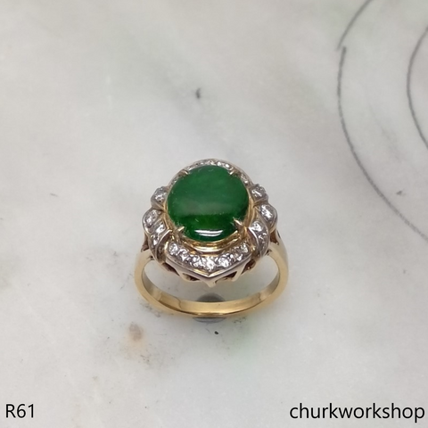 14k yellow gold diamond dark green jade ring