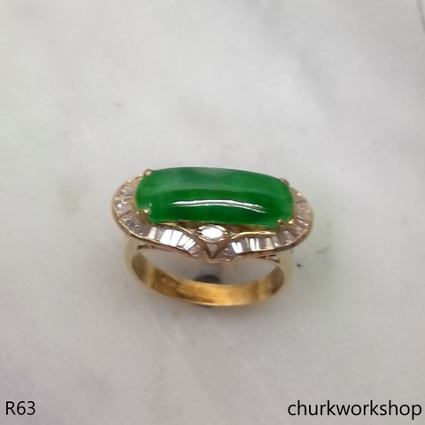 Green jade 18K diamond ring