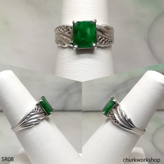 Square jade sterling silver ring