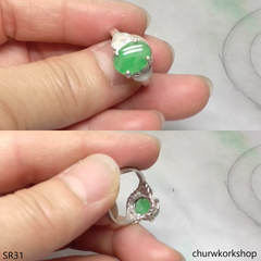 Silver green oval jade ring