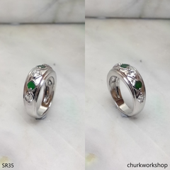 Small green jade & CZ band