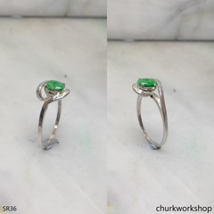 Silver green jade ring