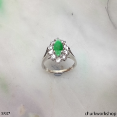 Silver green marquise jade ring