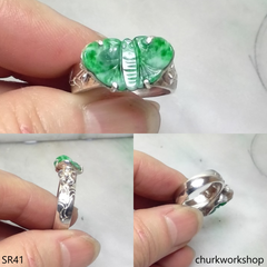 Silver jade butterfly ring