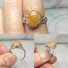 Oval yellow jade silver ring