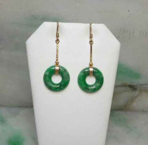 14K natural color jade earrings, green jade earrings,