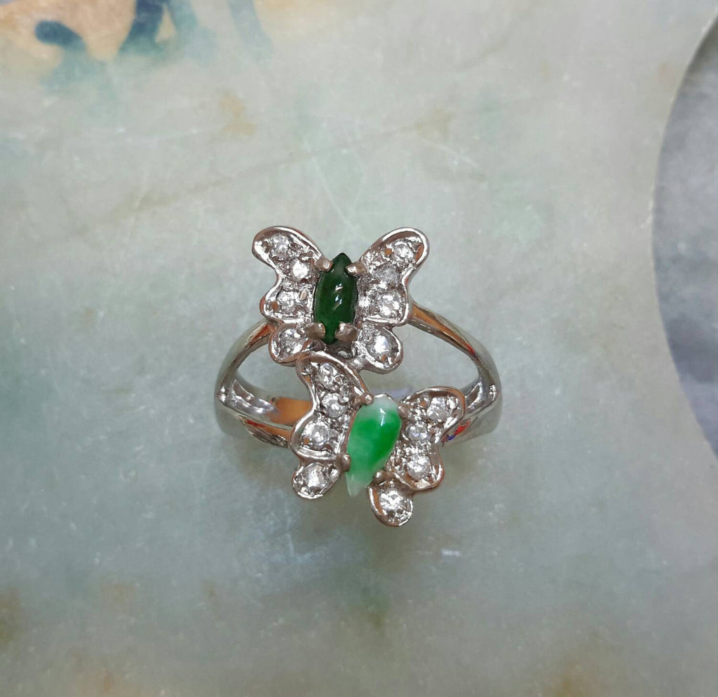 Natural color jade butterfly silver ring