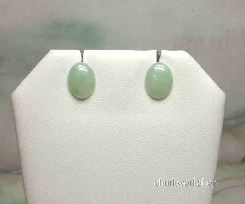 Light green color jade earrings sterling silver