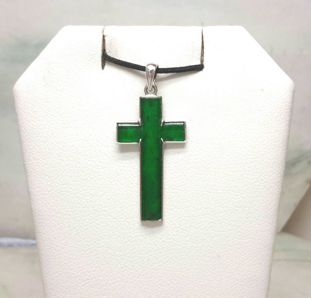 Green jade cross, 18k jade pendant, cross pendant, jade cross