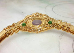 18k yellow gold lavender oval jade bangle