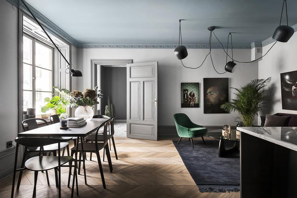 Swedish apartment in moody greys