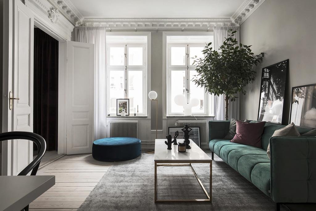 Swedish style apt with lovely green sofa