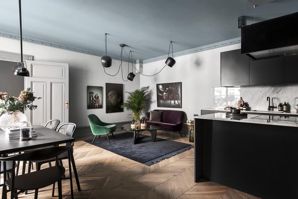 Swedish style in moody Stockholm apartment