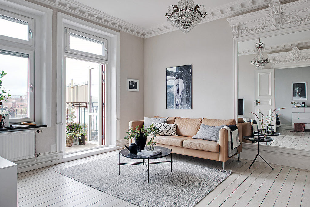 Scandinavian style interior in Swedish Turn-of-the-century apartment