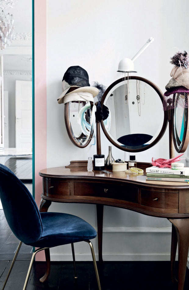 Vintage vanity table in home of Danish designer
