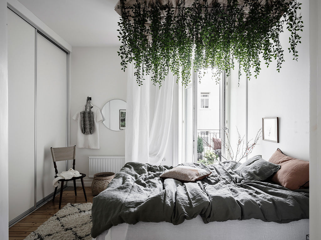 Bedroom with hanging plants