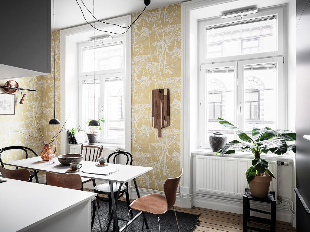 Scandinavian kitchen with beautiful wallpaper