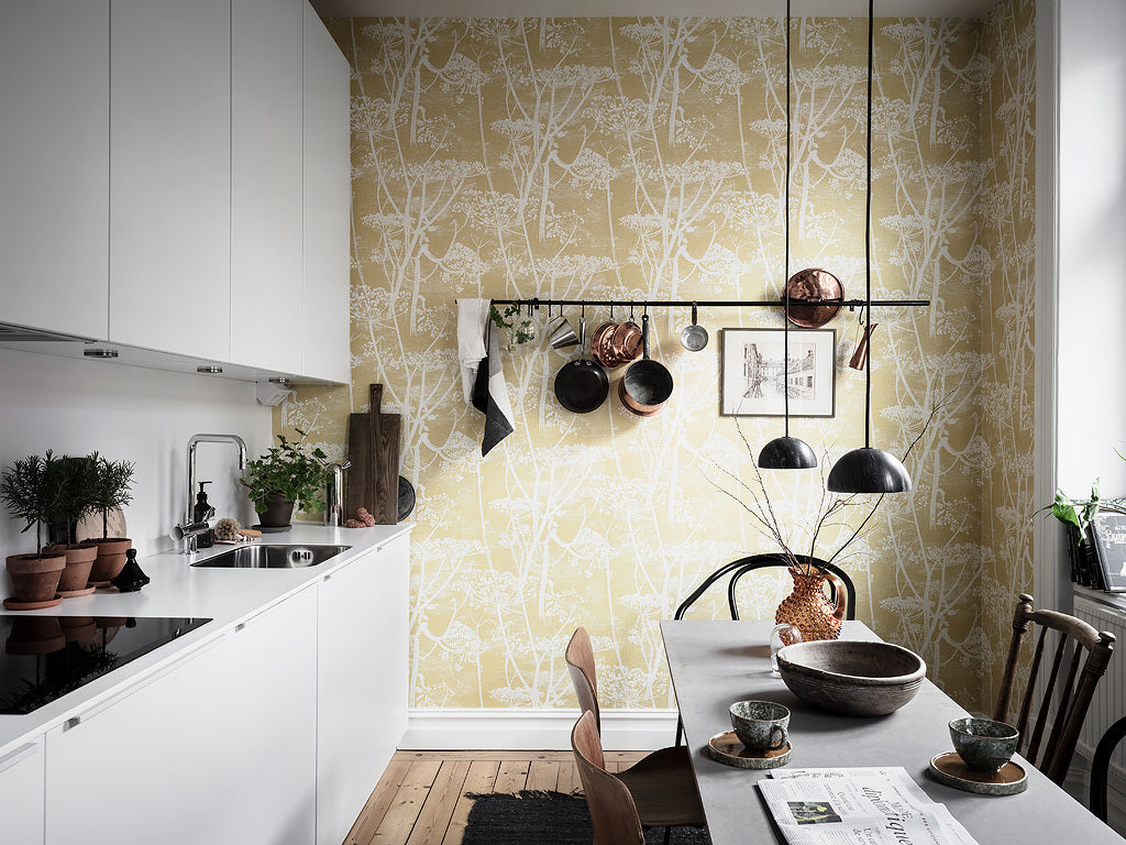 Beautiful wallpaper in Scandinavian kitchen
