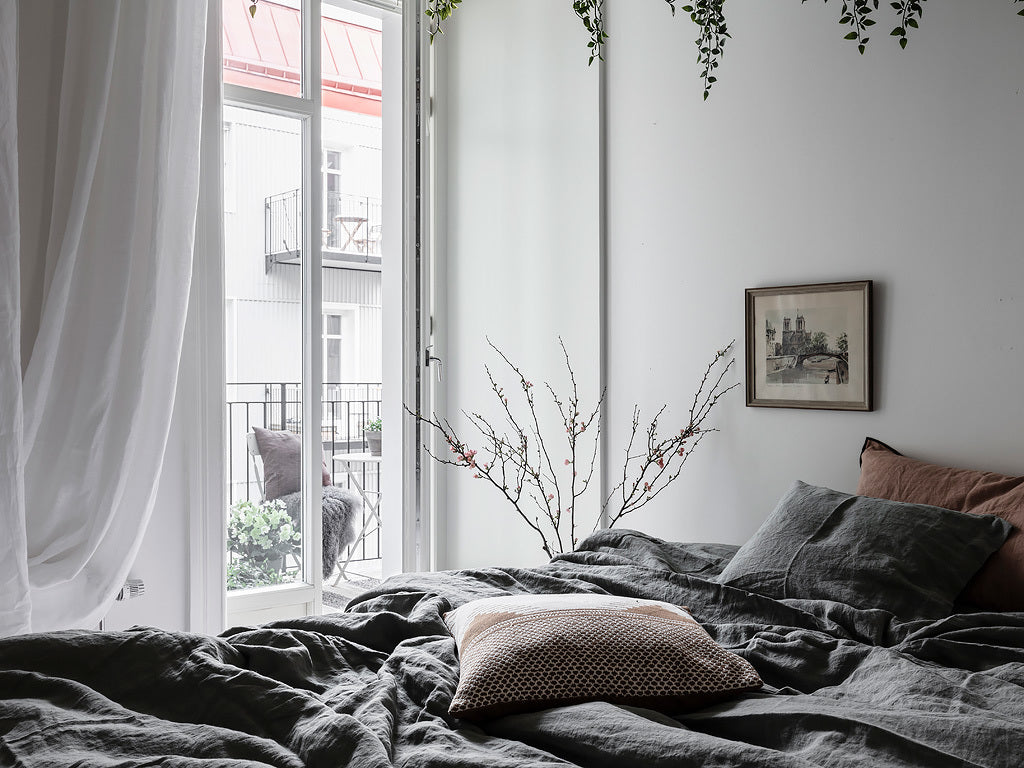 Swedish bedroom with a balcony