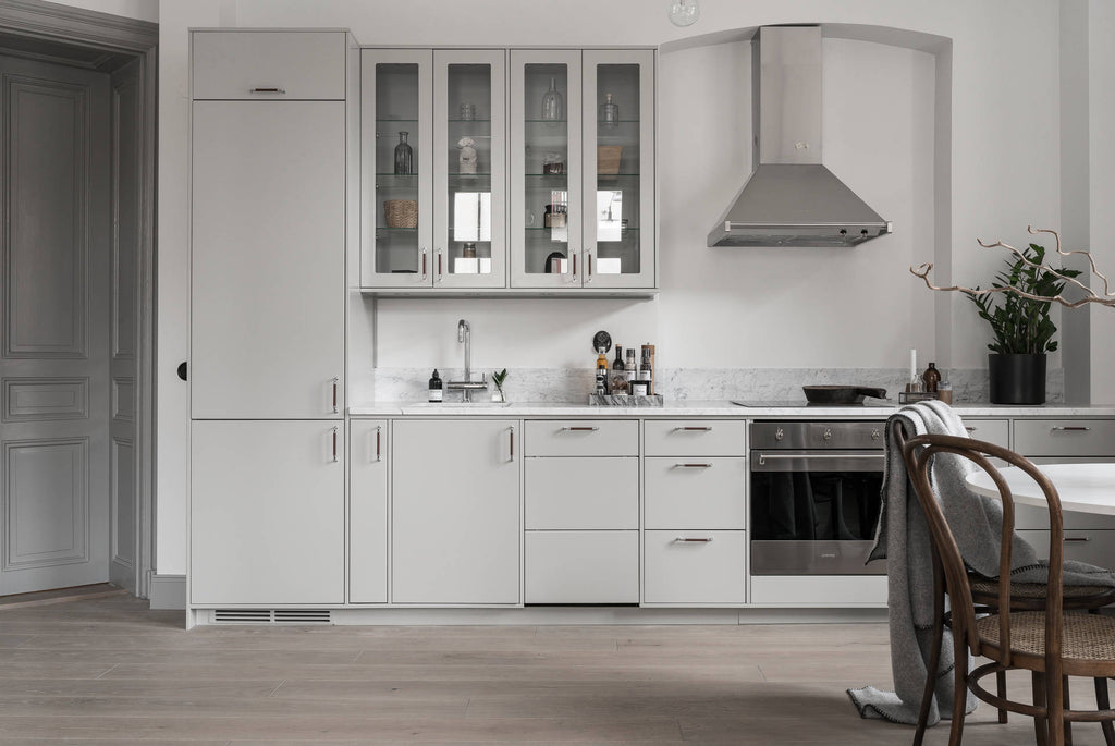 Swedish Kitchen in Beautiful Apartment in Soft Greys