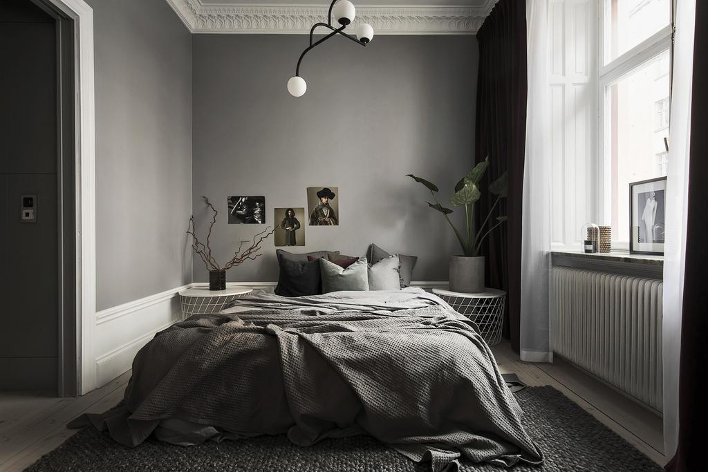 Bedroom of Lovely Swedish Apartment in Greys