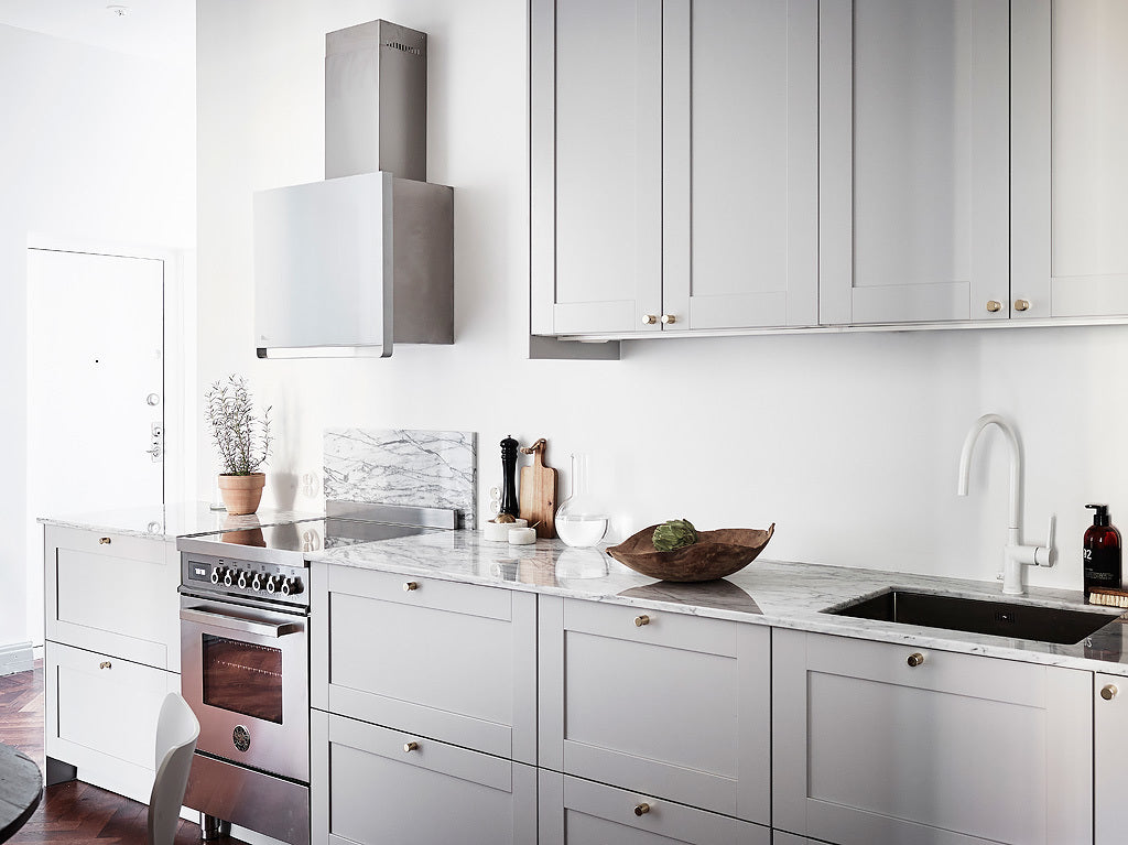 Swedish Style Kitchen with Light Grey Cabinets