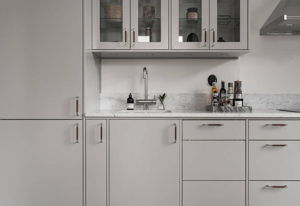 Detail of Soft Grey Swedish Kitchen