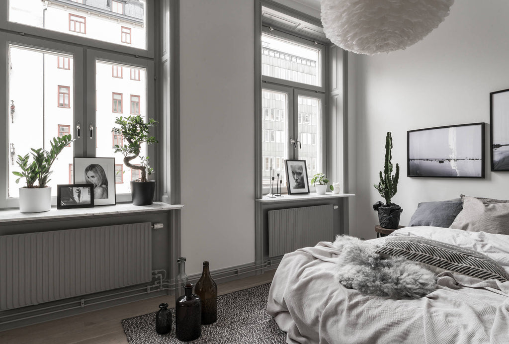 Soft Grey Bedroom in Beautiful Stockholm Apartment