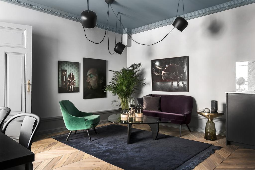 lovely moody colours in Swedish apartment