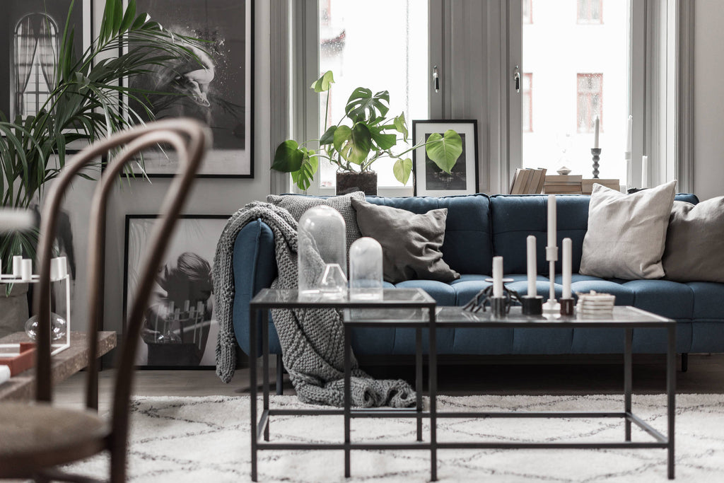 Beautiful Blue Sofa in Stockholm Apartment