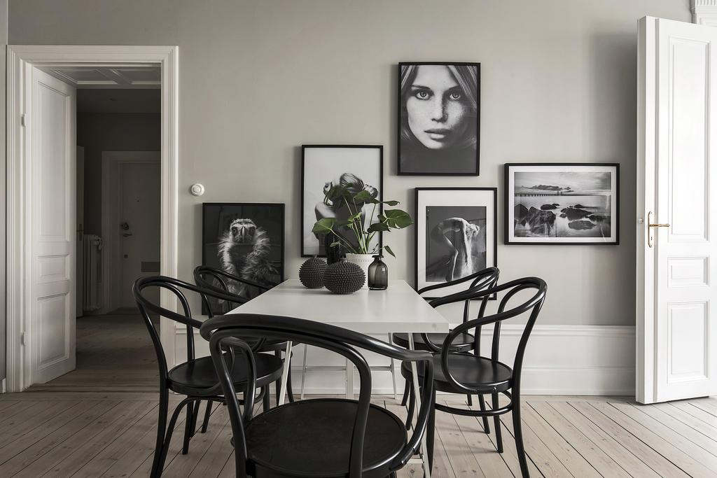Gallery Wall in Swedish Dining Area