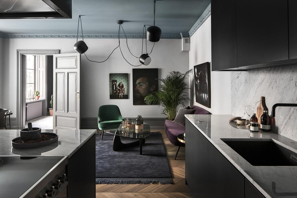 Swedish apartment with moody greys
