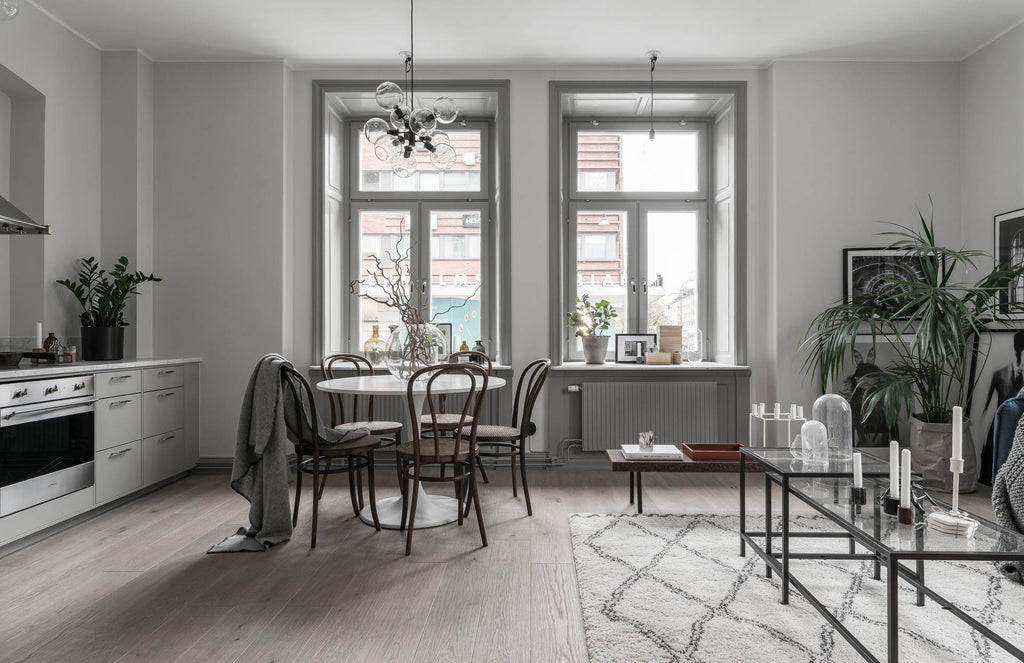 Dining area of Stockholm Apartment in Soft Greys