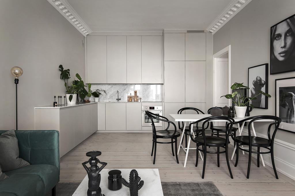 Stockholm Apartment in Greys with Muted Jewel Tones