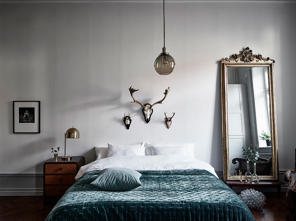 Swedish Style Bedroom with Emerald Green Accents