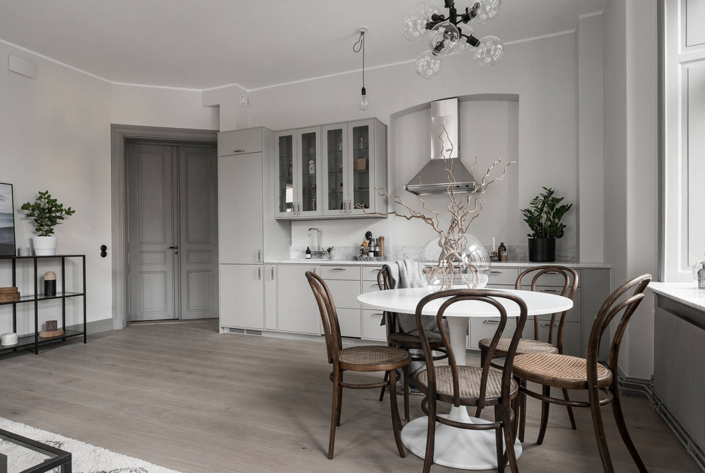 Dining area in Swedish Apartment in Grey Tones
