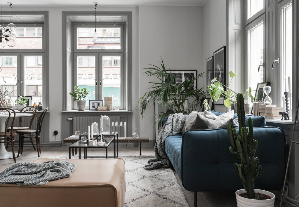Beautiful Blue Sofa in Grey Swedish Apartment