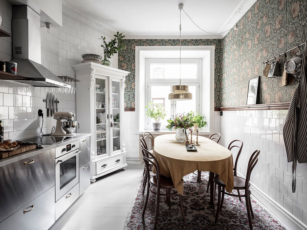 Kitchen in colourful Scandi home