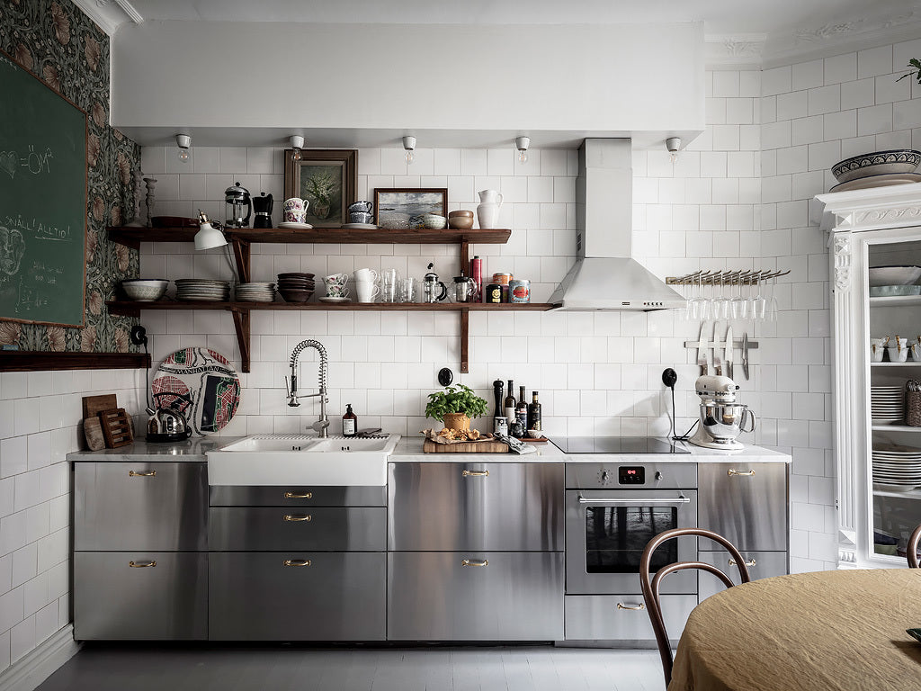 Scandi Kitchen with stainless cupboards