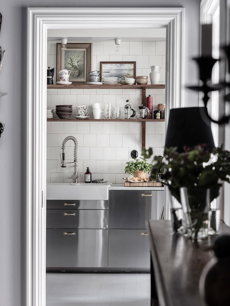Looking into the Kitchen in Stylish Scandi apartment