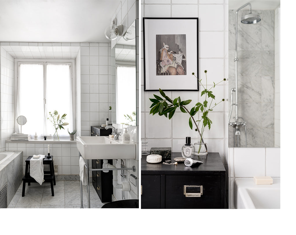 Bathroom with classic white tiles and Carrera marble